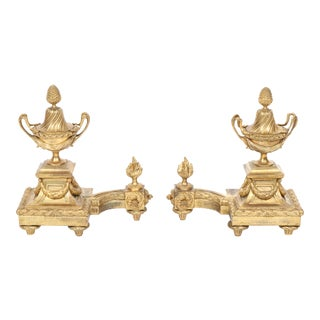 French Louis XVI Manner Gilt Bronze Chenets For Sale