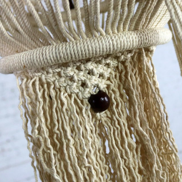 Vintage Bohemian White Macramé Hanging Tables With Round Glass Tops - a Pair For Sale - Image 12 of 14