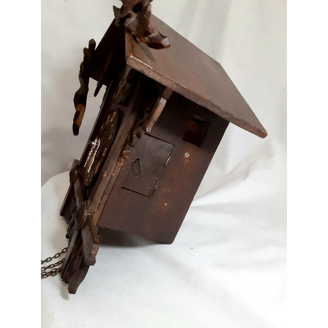 Wood Early 20th Century Black Forest Carved Cuckoo Clock For Sale - Image 7 of 11