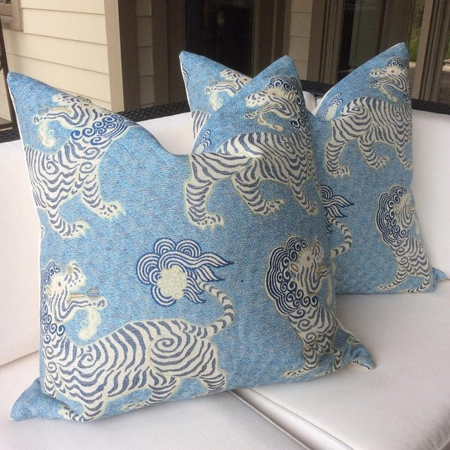 Chinoiserie Tibetan Dragon Chinoiserie Blue & White Pillows - a Pair For Sale - Image 3 of 4