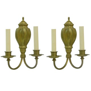 Pair of Louis XVI Gilt Bronze, Two Light Wall Sconces by Sterling Bronze Co For Sale