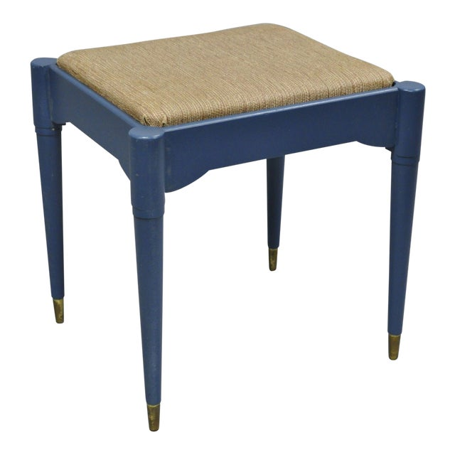 Vintage Mid-Century Modern Danish Style Blue Painted Piano Bench With Sewing Storage For Sale
