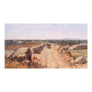 'Landscape Outside Bari' by Franco Colella, Italian Impressionist, Apulian Oil, Machiaioli For Sale
