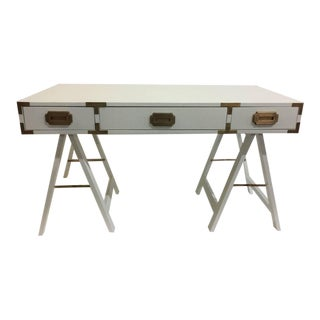 Vintage Campaign Desk with Original Patinated Brass Hardware For Sale