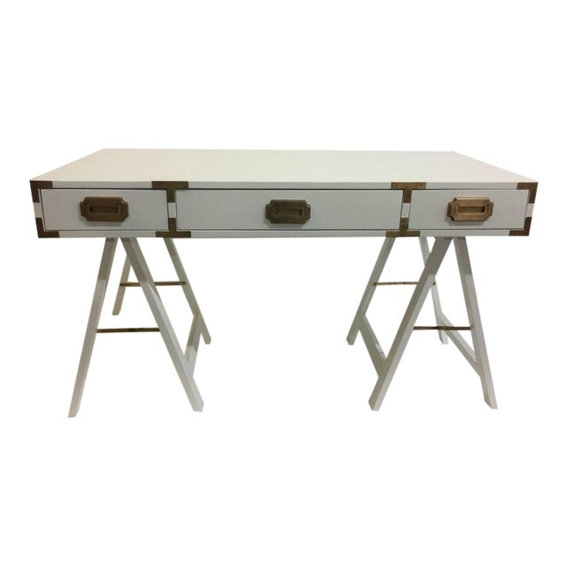 Vintage Campaign Desk with Original Patinated Brass Hardware - Image 1 of 7