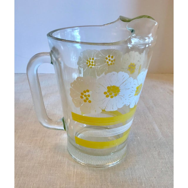 Glass Mid Century Modern White and Yellow Sunflower Glass Pitcher For Sale - Image 7 of 7