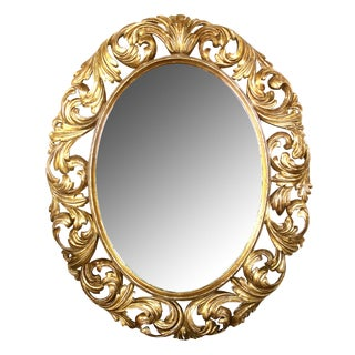 Well-Carved Italian Baroque Style Oval Giltwood Mirror For Sale