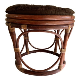 Boho Chic Bamboo Rattan Wood Footstool With Cushion For Sale