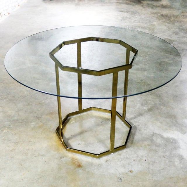 Milo Baughman Style Octagon Brass Plated Metal Dining Table With Round Glass Top For Sale - Image 6 of 12