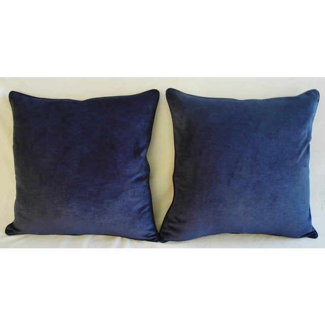 Boho Chic Large Designer Midnight Blue Velvet Feather/Down Pillows - Pair For Sale - Image 3 of 10