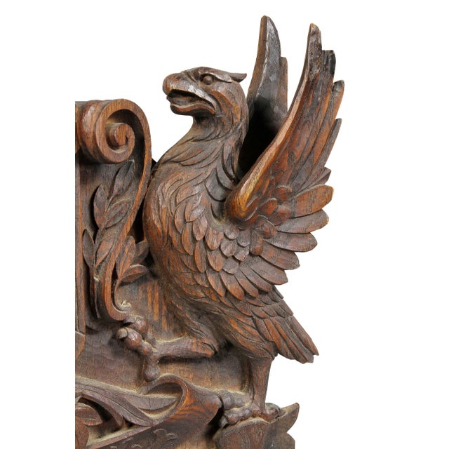 German Carved Oak Coat of Arms For Sale - Image 4 of 9