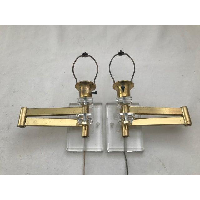 Vintage Modern Pair Walter Von Nessen Karl Springer Style Lucite Acrylic Brass Wall Sconces Lamps Pair, some wear, lucite...
