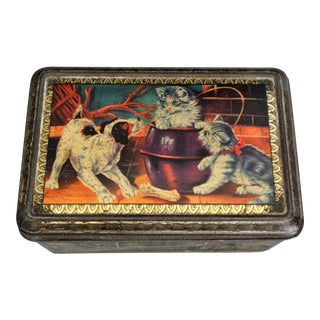 1930s French Lithograph Confection Tin With Dog & Cat For Sale