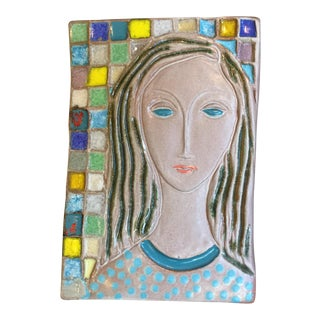Harris Strong Ceramic Women Ceramic Mosaic Tiles - a Pair For Sale