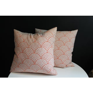 John Robshaw Scallop Stamped Coral Pillows- A Pair Preview