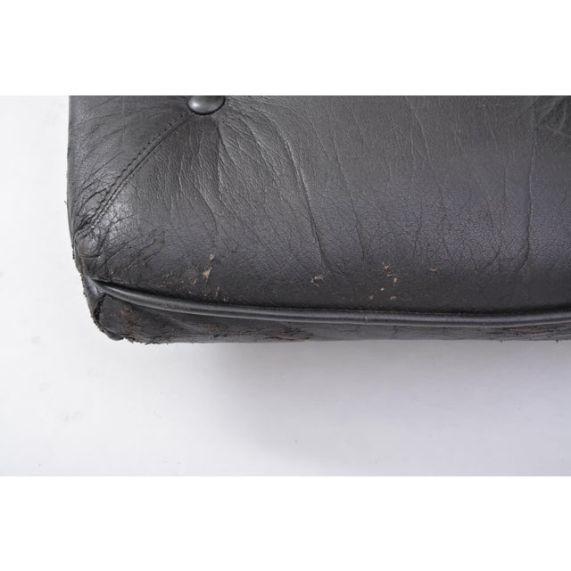 Mid 20th Century Black Vintage Leather Ottoman/ Foot Stool, Attributed to Sergio Rodrigues For Sale - Image 5 of 12