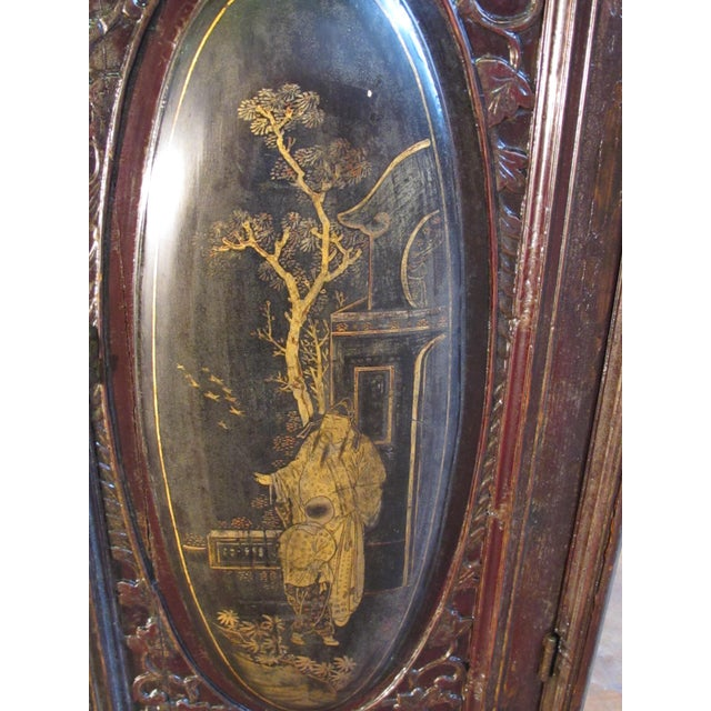 Wood Chaozhou Painted & Carved Cabinets on Stand - Set of 3 For Sale - Image 7 of 13