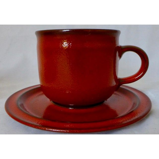 West German Ceramano Coffee Cup and Saucers in Sunset Orange - Set of 4 For Sale - Image 4 of 13