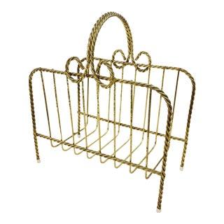 Vintage Brass Bow Magazine Rack
