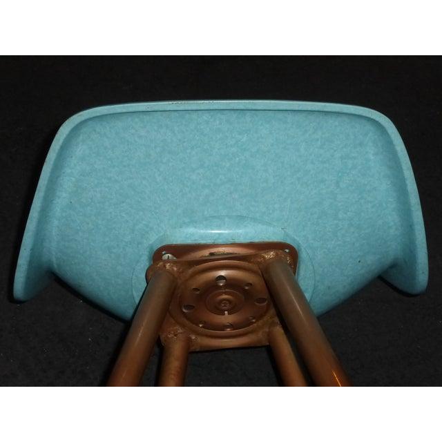 Mid-Century Turquoise Fiberglass Peg Leg Bar Stool - Image 7 of 7