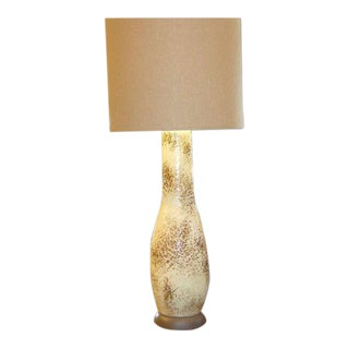 1950s Vintage Monumental Mottled Glaze Table Lamp For Sale