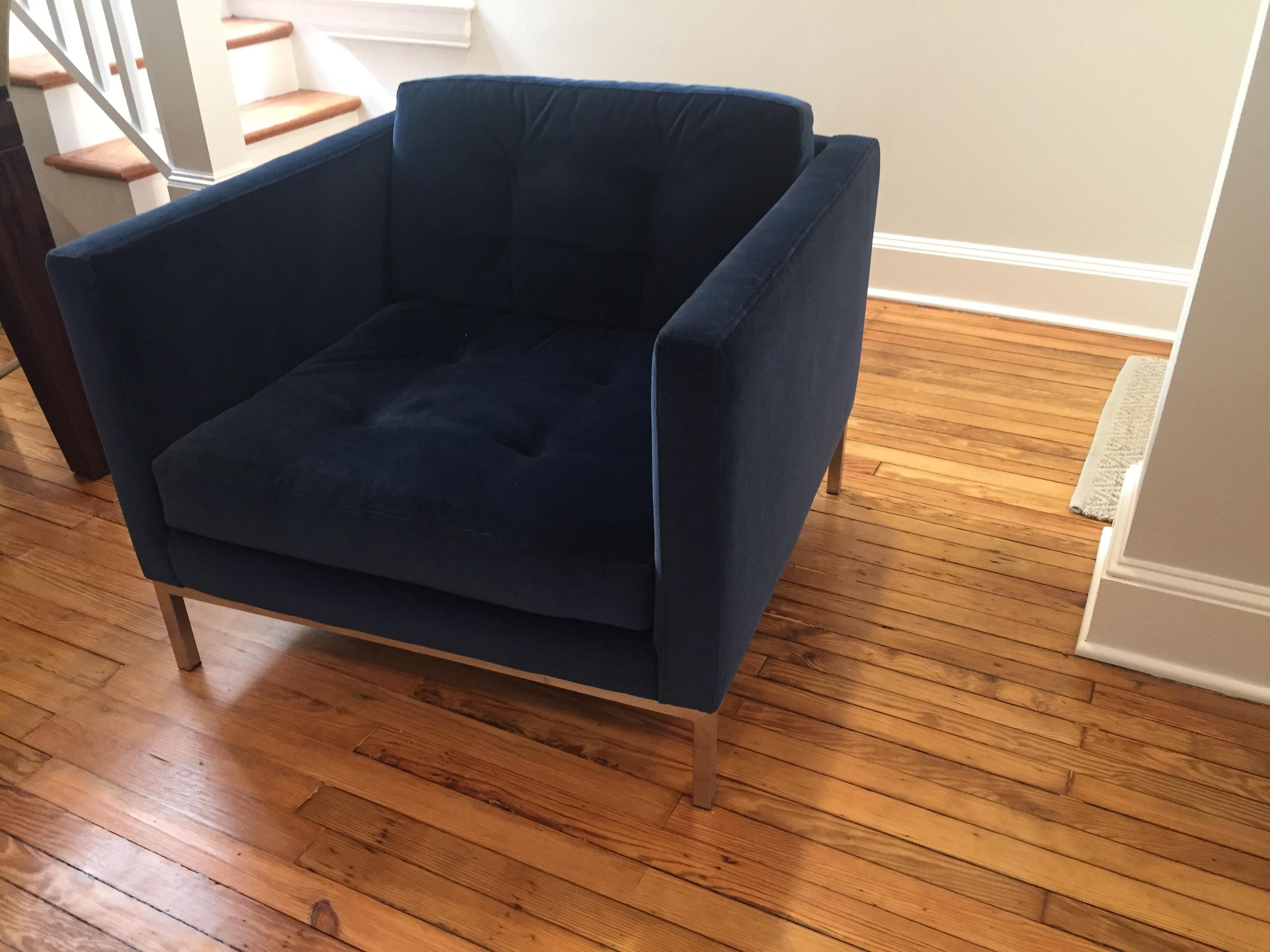 Mid Century Modern Room U0026 Board Sabine Cobalt Blue Velvet Club Chair For  Sale