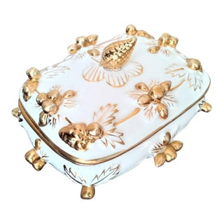 Antique Gilded Porcelain Trinket Box For Sale