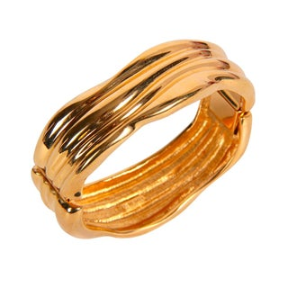 Monet Gold Toned Hinged Bracelet For Sale