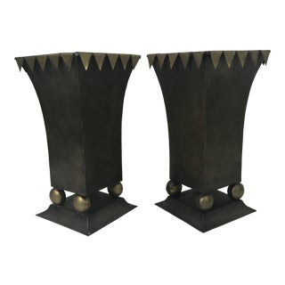 Square Tole Cachepots - a Pair For Sale