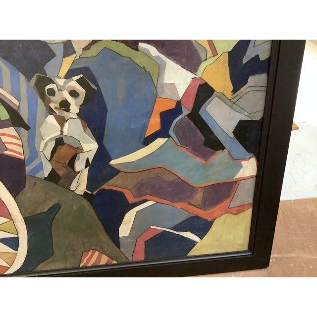 Black Midcentury Cubist Style / Folk Art Clown Painting For Sale - Image 8 of 12