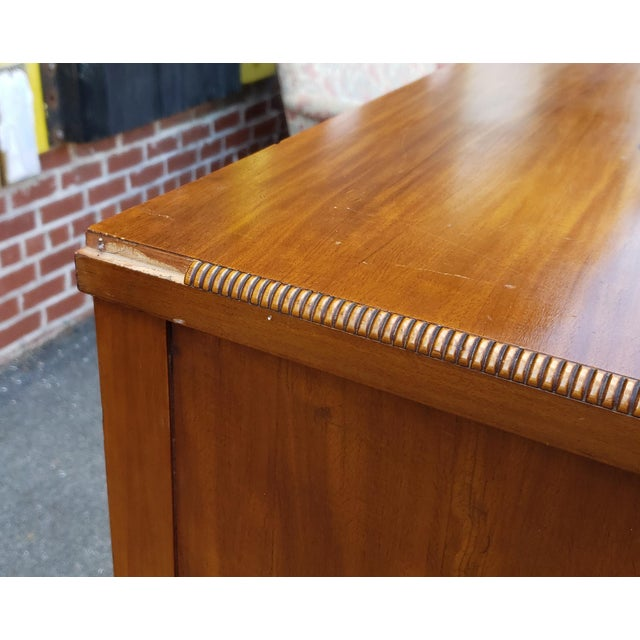 Traditional Vintage 1950s Satinwood Mahogany Bedroom 6 Graduated Chest of Drawers For Sale - Image 3 of 12