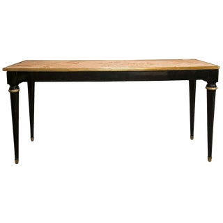 French Directoire Style Ebonized Console or Sofa Table Marble Top Jansen For Sale