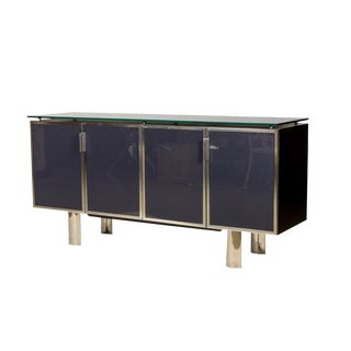 1970s Hollywood Regency Black Smoked Mirror and Midnight Blue Credenza For Sale