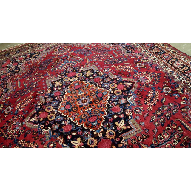 1910s handmade antique Persian Mashad rug 10.2' x 13.9' For Sale - Image 10 of 11