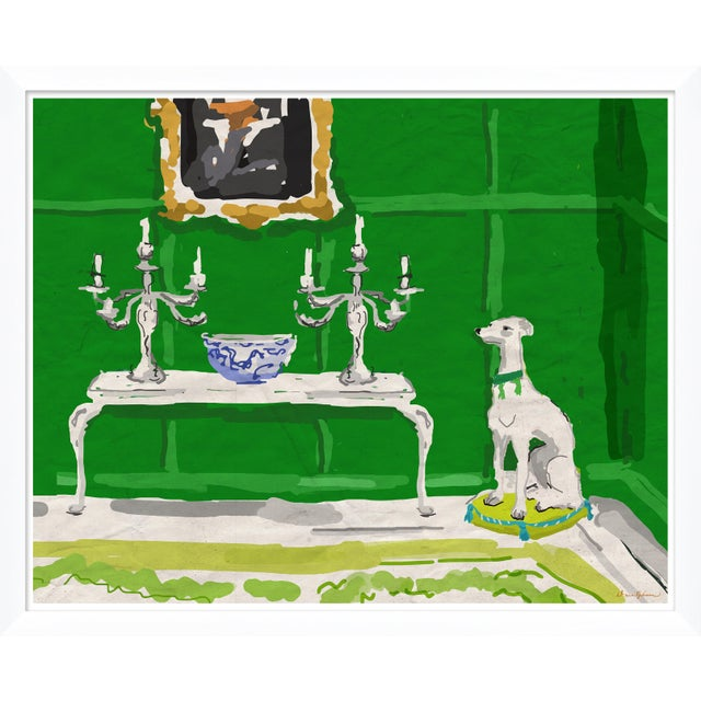 """Contemporary """"Green Dog"""" By Dana Gibson, Framed Art Print For Sale - Image 3 of 3"""