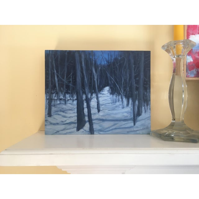 "Paint Stephen Remick ""Moonlit Snowy Path"" Contemporary Painting For Sale - Image 7 of 8"