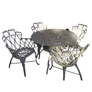 White Outdoor Bistro Dining Set For Sale