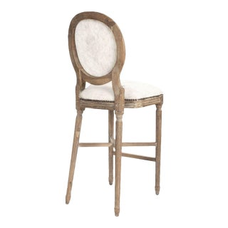 Everest Medallion Cowhide Bar Stool in White For Sale