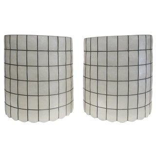 Pair of Capiz Lampshades For Sale