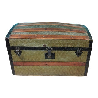 Antique Dome Pressed Tin & Wood Steamer Trunk