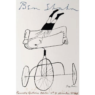 1968 Original Ben Shahn Lithograph Upside Down Boy on Bike Art Poster For Sale
