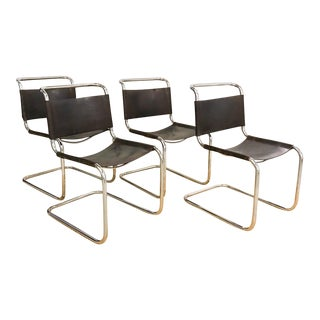 Set of 4 Mid Century S33 Mart Stam Thonet Cantilevered Leather Chairs
