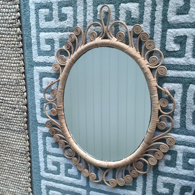 Vintage Rattan Peacock Coiled Oval Mirror - Image 11 of 11