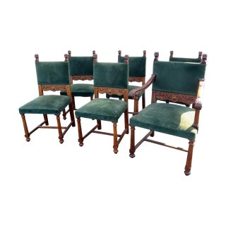 Green Horner Style Chairs - Set of 6 For Sale