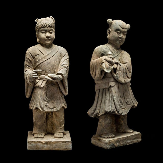 Brown Pair of Stone Sculptures of Children at Play For Sale - Image 8 of 8