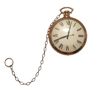 United Clock Company Mid Century Pocket Watch Wall Clock With Chain For Sale