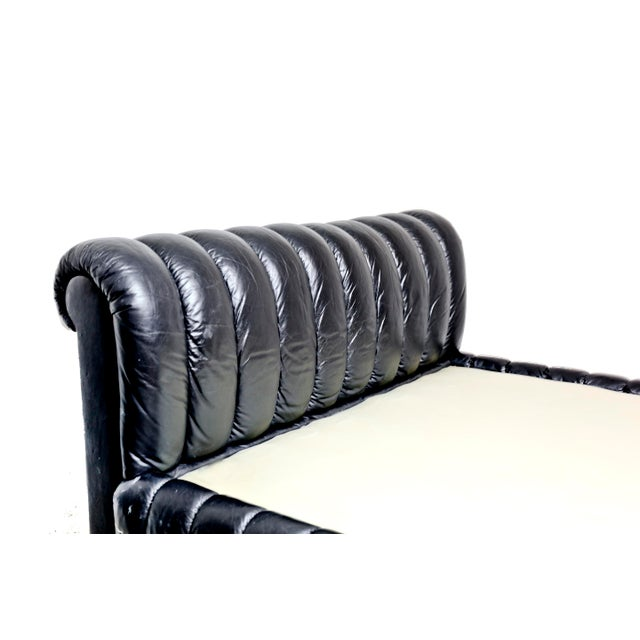 Contemporary 1980s Contemporary Jay Spectre Black Channeled Leather Queen Size Bed, Excellent Condition For Sale - Image 3 of 5