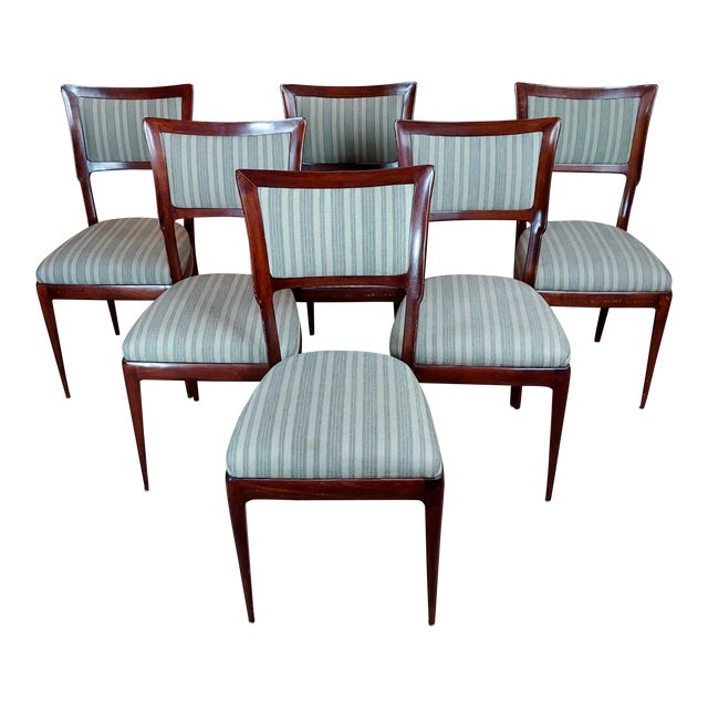 Vintage Italian Art Deco Mahogany Dining Chairs - Set of 6 For Sale