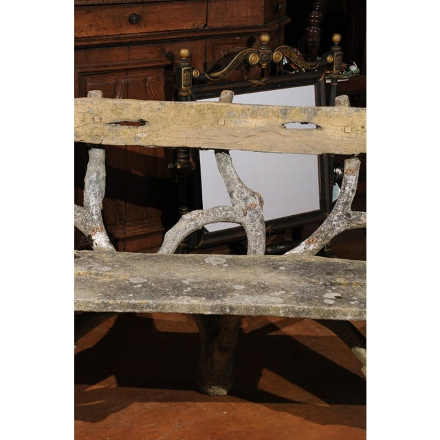 French Late 19th Century Faux-Bois Concrete Bench with Vases Flanking the Sides For Sale - Image 11 of 13