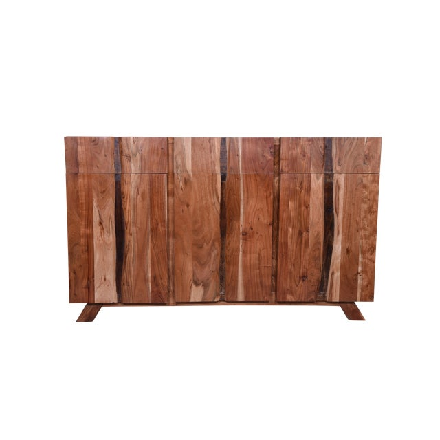Baxter Three Drawer Acacia Wood Storage Sideboard For Sale